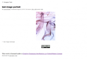 This is a sample image attachment page showing the Creative Commons license information displayed.