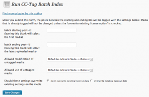This is the CC-Tagger Batch Index screen.