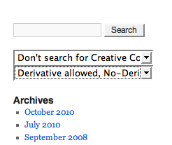 This is the search form with the CC options added (if enabled) by CC-Tagger.