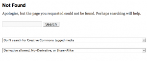 This is a '404 - Not found' page result showing the search option with the CC options added (if enabled) by CC-Tagger.